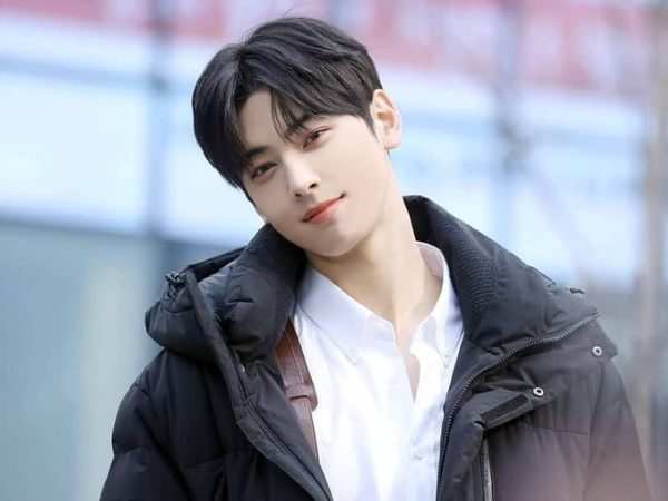 Famous Cha Eun-woo from band Astro headshot and smile