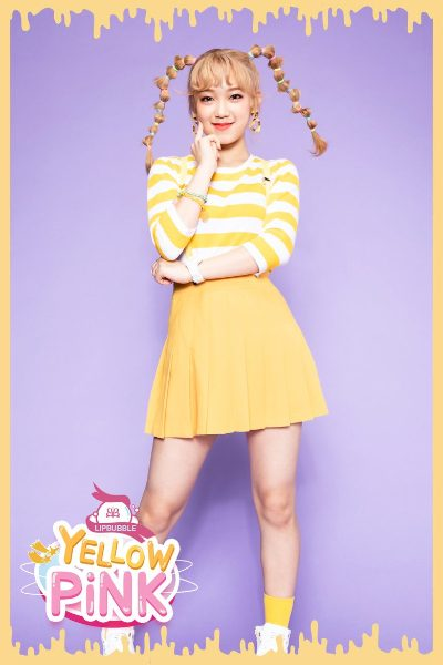Hanbi from band Lipbubble smiling for yellow pink debut